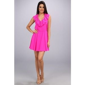 Amanda Uprichard Hot Pink Ruffle Halter Dress S